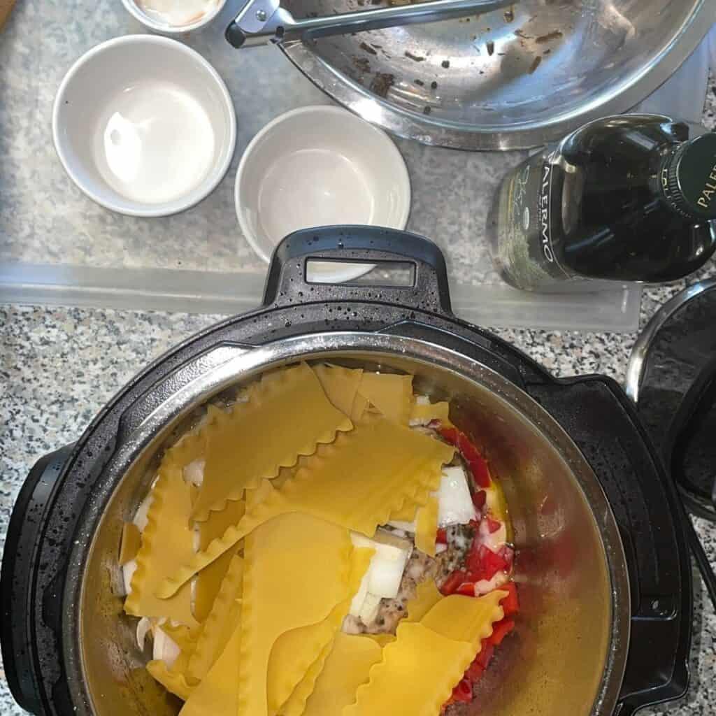 Jerk Pasta ingredients in the instant pot