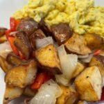 HOme fried and scrambled eggs