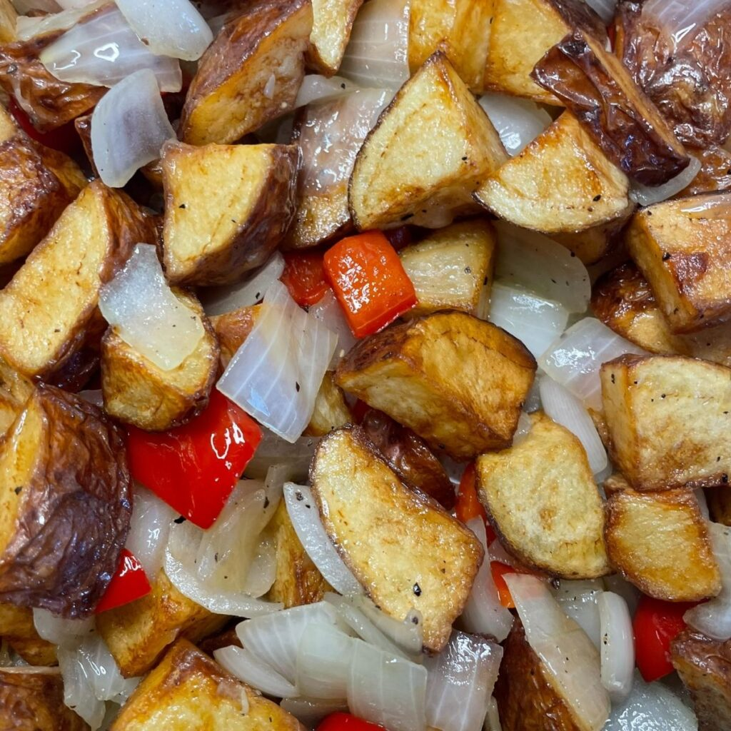 Home Fries with Peppers and Onions Cooked