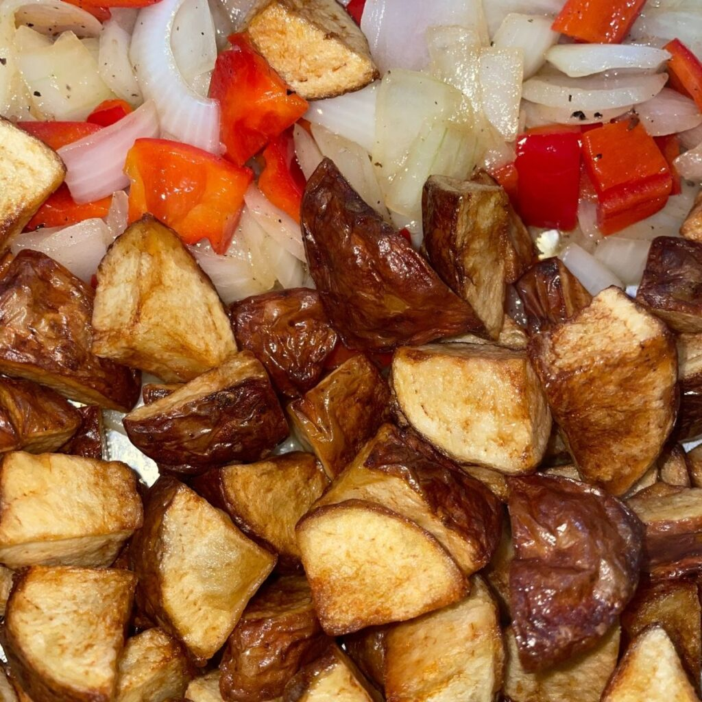Cooked Potatoes and Vegetables for Home fries