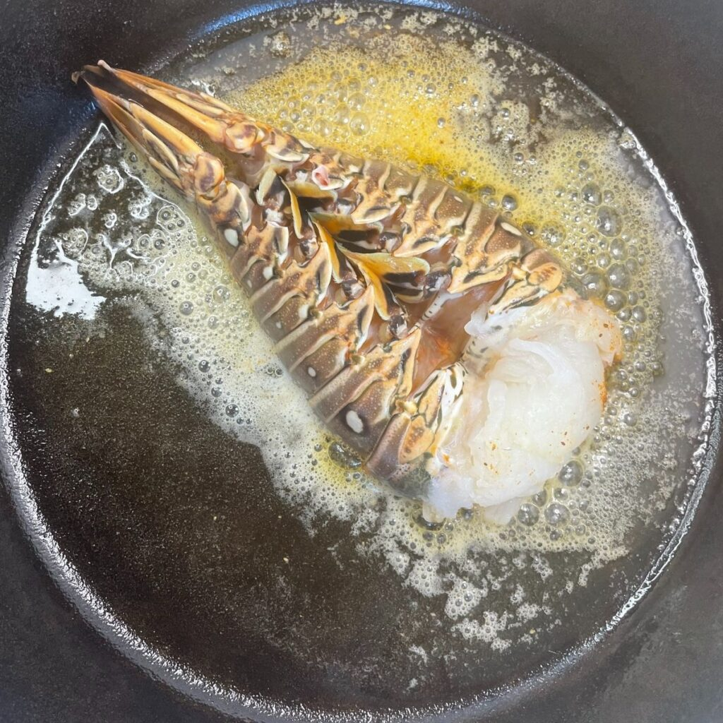 Searing Lobster Tail in the Cat Iron Skillet