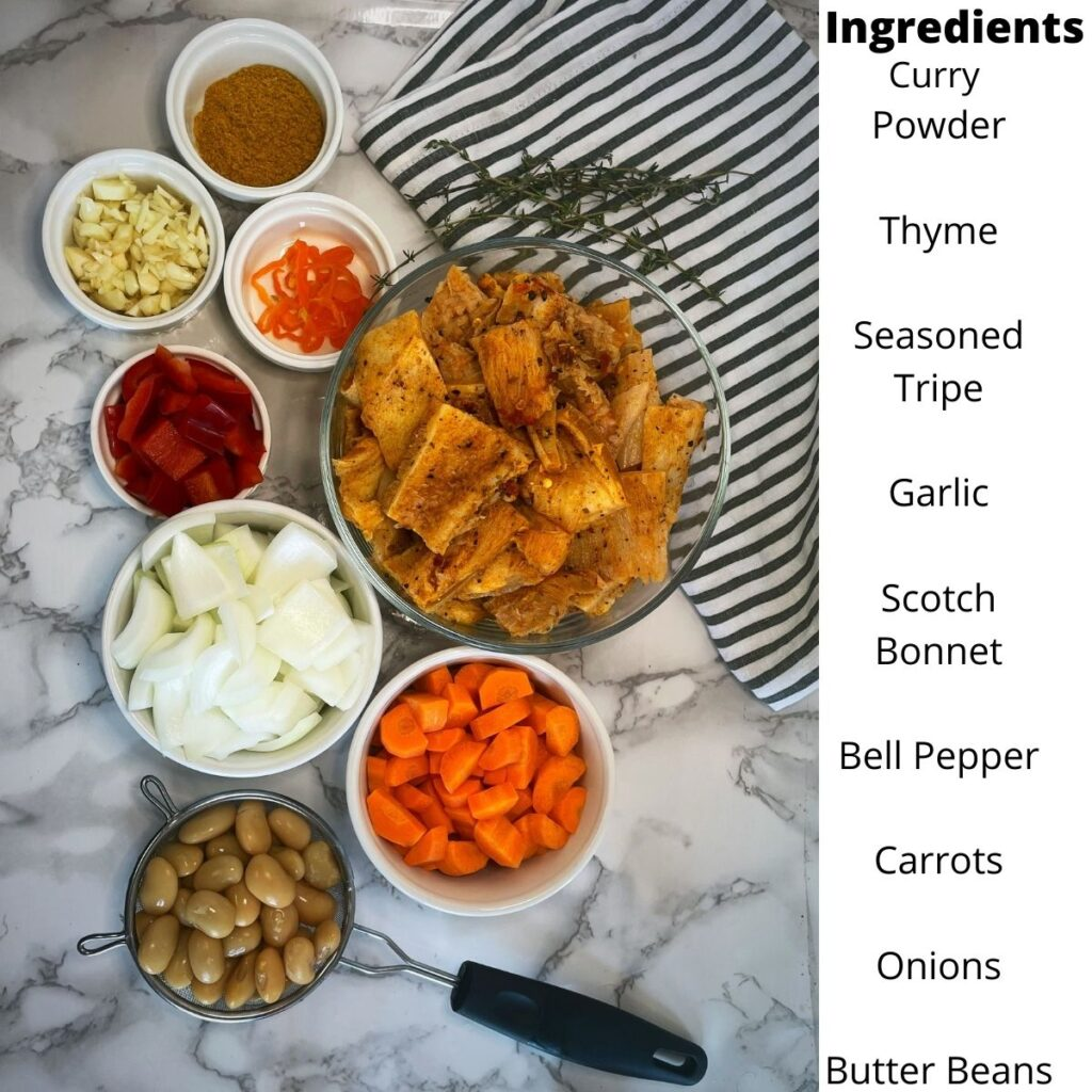 Ingredients for Jamaican Tripe and Bean Recipe