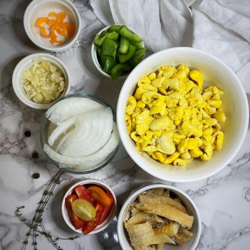 Ackee and Saltfish Ingredients