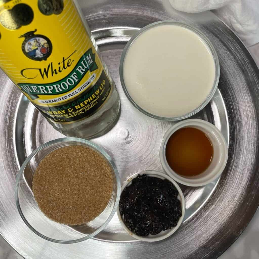 Ingredients for Rum Raisin