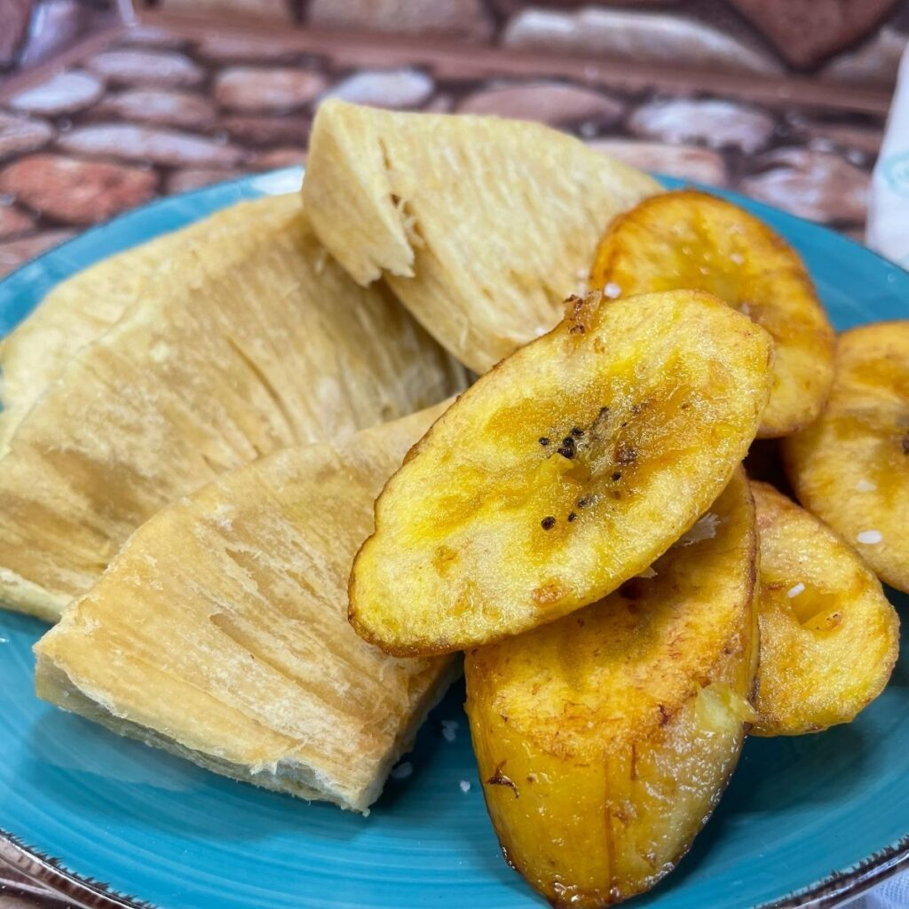 Fried Breadfruit and Sweet Plantains
